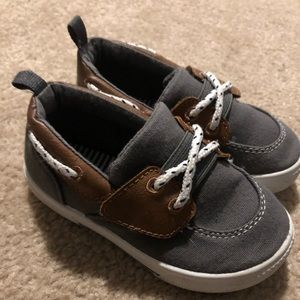 Carter's Gray and Brown Boys Boat Shoes size 7